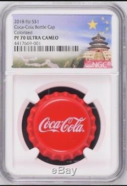 NGC PF70 2018 Fiji Coca-Cola Bottle Cap $1 6g Silver Proof Coin Temple Label COA