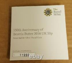 Peter Rabbit Silver Proof 50p Coin 2016 Beatrix Potter with CoA