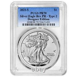 Presale 2021 Reverse Proof American Silver Eagle Designer 2pc Set PCGS PR70 Bl