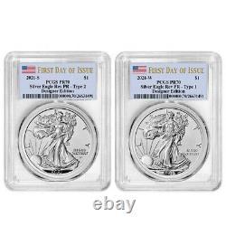 Presale 2021 Reverse Proof American Silver Eagle Designer 2pc Set PCGS PR70 FD