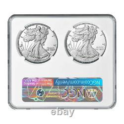 Presale 2021-W Proof $1 Type 1 and Type 2 Silver Eagle Set NGC PF70UC ER Blue