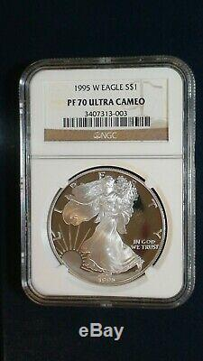 Rare 1995 W American Silver Eagle Ngc Pf70 Ultra Cameo Perfect $1 Coin