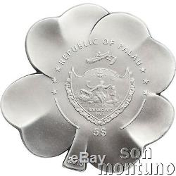 SILVER FORTUNE FOUR LEAF CLOVER 1 oz $5 Dollar Proof Coin in BOX+COA 2018 Palau