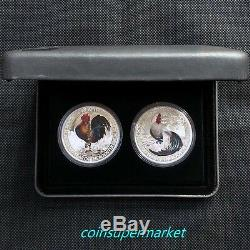 Tuvalu 2017 Year Rooster Good Fortune Wealth & Wisdom 2-Coin $1 Silver Proof Set